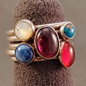 Sterling Set of Six Stackable Natural Stone Rings